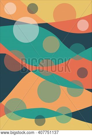 Bedsheet Design Overlapping Waves In Warm Colors Red, Red, Orange, Supplemented With Green And Blue,