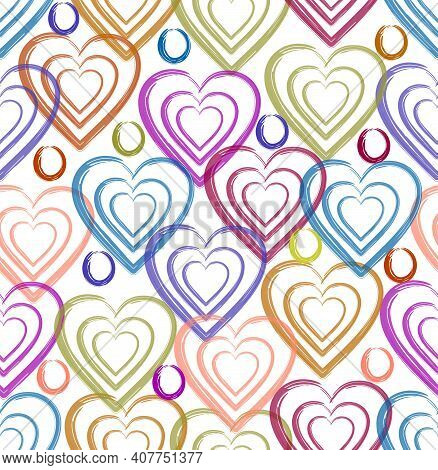 Fine Spring Pattern Of Hearts In Pastel Colors On A White Background, Watercolor Technique, Suitable