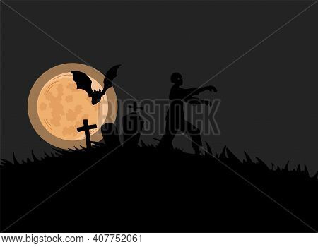 Black Silhouette Of Zombie Walking On Cemetery Vector Flat Illustration. Creepy Nightmare Landscape