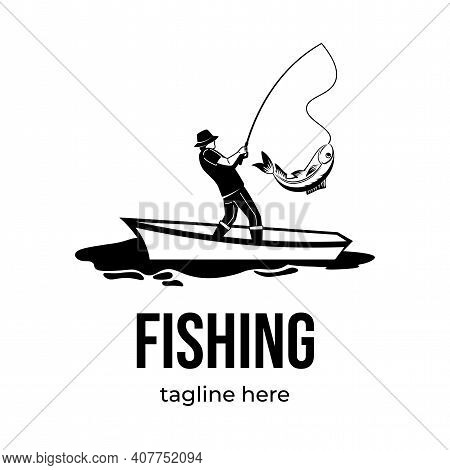 Fishing Logotype Template Isolated On White Background With Text Space. Male Silhouette Catching Fis