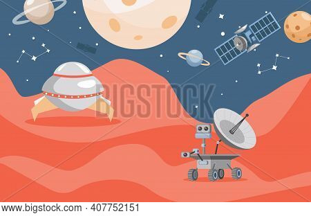 Planet Exploration Vector Flat Poster Concept. Mars Rover On Red Planet Surface, Space Exploring, Sc