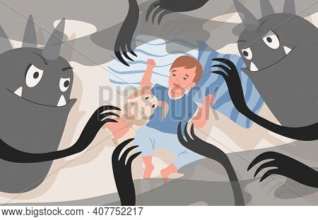 Little Boy Lying In Bed At Night And Has Nightmare With Creepy Black Monsters Vector Flat Illustrati