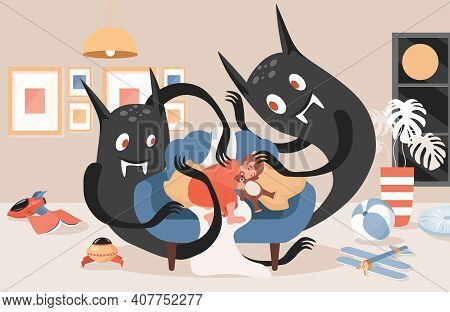 Scary Black Night Monsters Ready To Attack Little Sleeping Boy Vector Flat Illustration. Male Charac