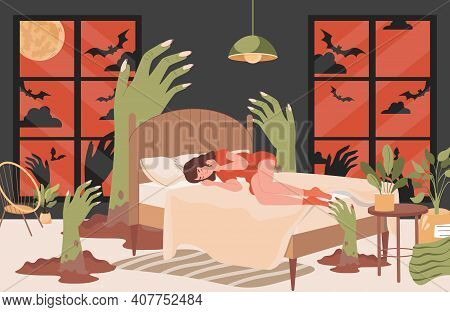 Young Girl Lying In Bed At Night And Has Nightmare Vector Flat Illustration. Tired Woman Suffering F