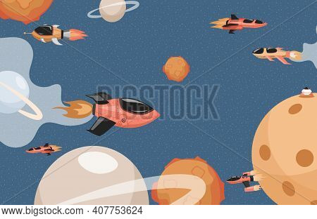 Space Rockets Flying In Cosmos Vector Flat Illustration. Spaceships In Outer Space Flying Among Plan