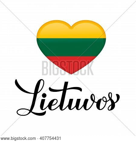 Lithuania Calligraphy Hand Lettering In Lithuanian Language. Easy To Edit Vector Template For Typogr