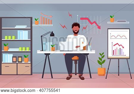 Overworked Businessman Using Laptop Analyzing Downward Graph Chart Economic Arrow Falling Down Finan
