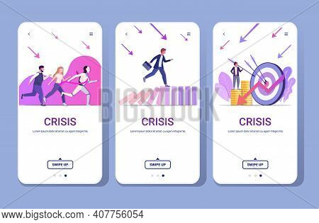 Set Businesspeople Frustrated About Financial Crisis Bankrupt Investment Risk Competition Concept Sm