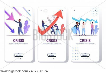 Set Businesspeople Frustrated About Economic Arrow Falling Down Financial Crisis Bankrupt Investment