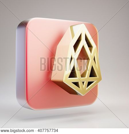 Neo Cryptocurrency Icon. Gold 3d Rendered Neo Symbol On Red Matte Gold Plate.