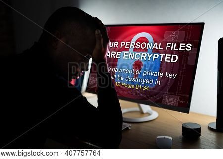 Ransomware Malware Cyber Attack On Business Computer