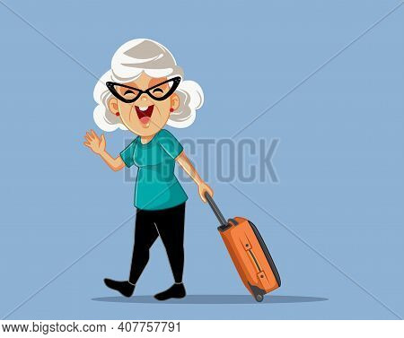 Cheerful Senior Woman Saluting And Traveling With Suitcase