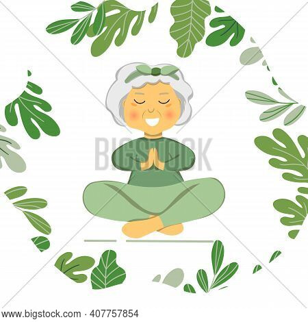 Sporty Granny Does Yoga. Old Person. Vector Colorful Cartoon Illustration. Senior Woman In Pose Yoga