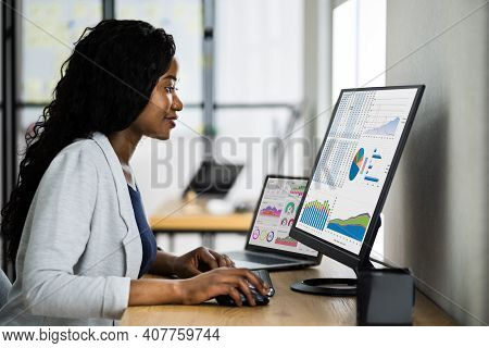 Business Analyst Woman Using Computer Data Tech