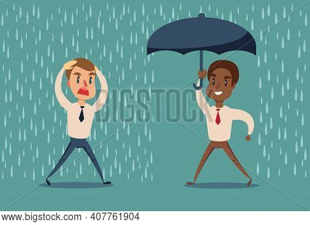 Man In The Rain. Businessman Go From The Rain While Another Businessman Has The Umbrella. Vector Fla