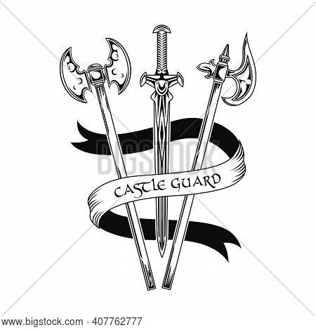 Brave Knights Weapon Vector Illustration. Sword And Axes, Castle Guard Text On Ribbon. Guard And Pro