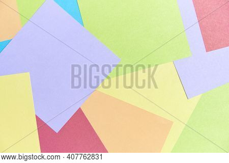 Colorful Background: Square Sheets Of Paper Of Different Colors Filling The Frame. Office Or School