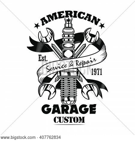 Car Parts And Spanners Vector Illustration. Chrome Spark Plug, Crossed Wrenches, Garage Custom Text.
