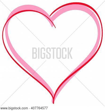 Two Hearts Symbol Love. Frame Merge Of Loving Hearts Template Greeting Card Valentine S Day. Vector
