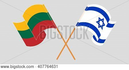 Crossed And Waving Flags Of Israel And Lithuania. Vector Illustration