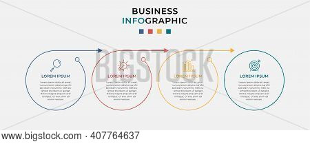 Minimal Business Infographic Template. Timeline With 4 Steps, Options And Marketing Icons .vector Li