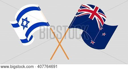 Crossed And Waving Flags Of Israel And New Zealand. Vector Illustration