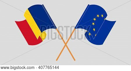 Crossed And Waving Flags Of Romania And The Eu. Vector Illustration