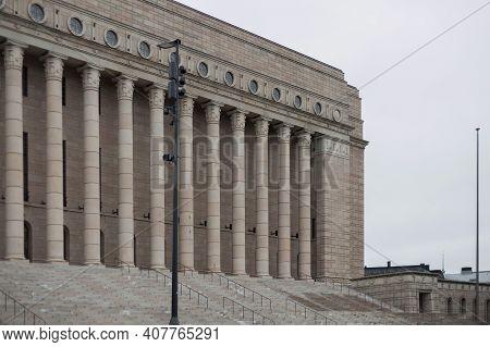 Helsinki, Finland - January 17, 2020: Finnish Parliament Building In The Center Of Helsinki