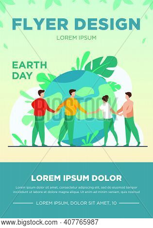 People Walking Around Globe And Holding Each Other By Hands Flat Vector Illustration. Tiny People Sa