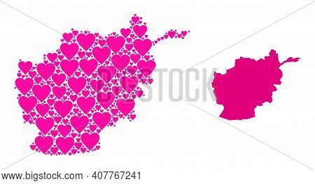 Love Collage And Solid Map Of Afghanistan. Mosaic Map Of Afghanistan Formed With Pink Love Hearts. V