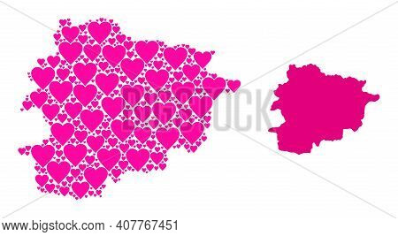 Love Pattern And Solid Map Of Andorra. Collage Map Of Andorra Designed With Pink Lovely Hearts. Vect