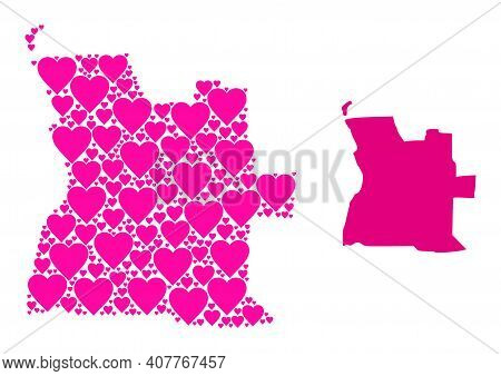 Love Collage And Solid Map Of Angola. Collage Map Of Angola Formed With Pink Lovely Hearts. Vector F