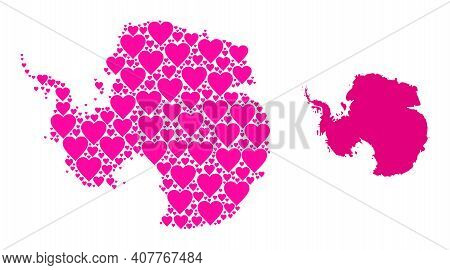 Love Collage And Solid Map Of Antarctica. Mosaic Map Of Antarctica Designed With Pink Lovely Hearts.