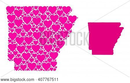 Love Collage And Solid Map Of Arkansas State. Collage Map Of Arkansas State Is Composed With Pink Lo