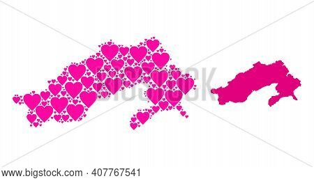 Love Collage And Solid Map Of Arunachal Pradesh State. Collage Map Of Arunachal Pradesh State Design