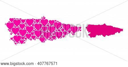 Love Collage And Solid Map Of Asturias Province. Collage Map Of Asturias Province Designed From Pink