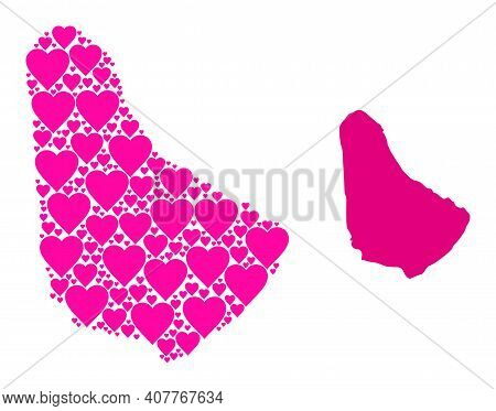 Love Mosaic And Solid Map Of Barbados. Mosaic Map Of Barbados Designed With Pink Hearts. Vector Flat