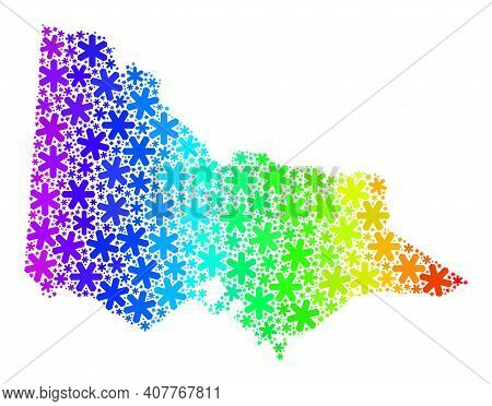 Rainbow Gradient Mosaic Of Australian Victoria Map Constructed For Christmas Holidays. Australian Vi