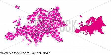 Love Pattern And Solid Map Of Europe. Collage Map Of Europe Composed With Pink Love Hearts. Vector F
