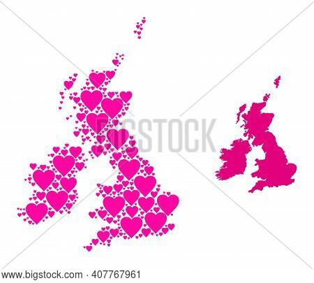Love Collage And Solid Map Of Great Britain And Ireland. Collage Map Of Great Britain And Ireland Is