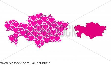 Love Mosaic And Solid Map Of Kazakhstan. Collage Map Of Kazakhstan Designed With Pink Lovely Hearts.
