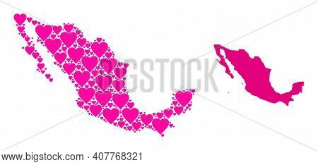 Love Pattern And Solid Map Of Mexico. Mosaic Map Of Mexico Is Formed With Pink Hearts. Vector Flat I