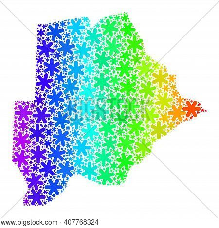 Spectral Gradient Mosaic Of Botswana Map Organized For New Year Ads. Botswana Map Mosaic Is Composed