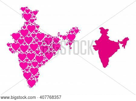 Love Collage And Solid Map Of India. Collage Map Of India Is Formed With Pink Hearts. Vector Flat Il