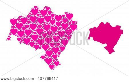 Love Collage And Solid Map Of Lower Silesia Province. Collage Map Of Lower Silesia Province Formed W