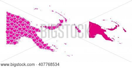 Love Mosaic And Solid Map Of Papua New Guinea. Collage Map Of Papua New Guinea Designed With Pink Lo