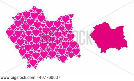 Love Mosaic And Solid Map Of Lesser Poland Province. Mosaic Map Of Lesser Poland Province Is Formed