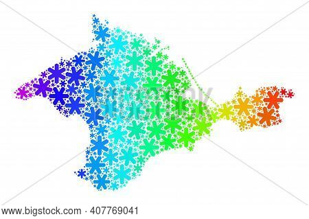 Rainbow Gradient Collage Of Crimea Map Created For Winter Holidays. Crimea Map Mosaic Is Designed Of