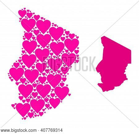 Love Collage And Solid Map Of Chad. Collage Map Of Chad Is Formed With Pink Love Hearts. Vector Flat