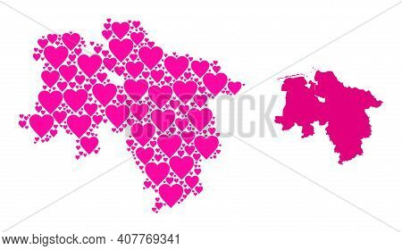 Love Collage And Solid Map Of Lower Saxony State. Collage Map Of Lower Saxony State Is Designed With